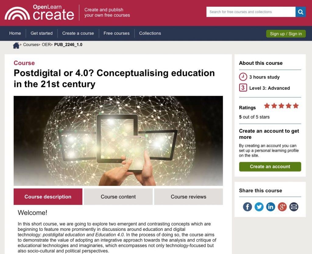 screenshot of Postdigital or 4.0? Conceptualising education in the 21st century