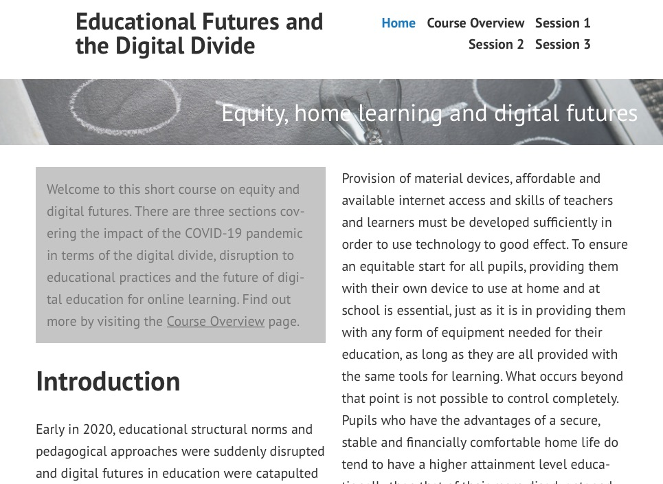 Educational Futures and the Digital Divide, by Jane Giebeler
